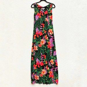 Tommy Bahama Dress Hawaiian Floral Colorful XS Blk